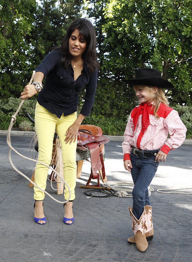 Emily Teaching Yvette Trick Roping on Good Day LA