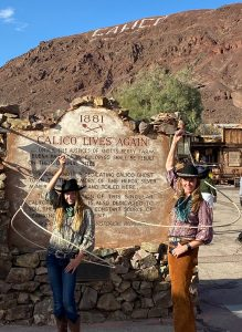 Cowgirl christy and cowgirl Emily trick roping at Calico Ghost town