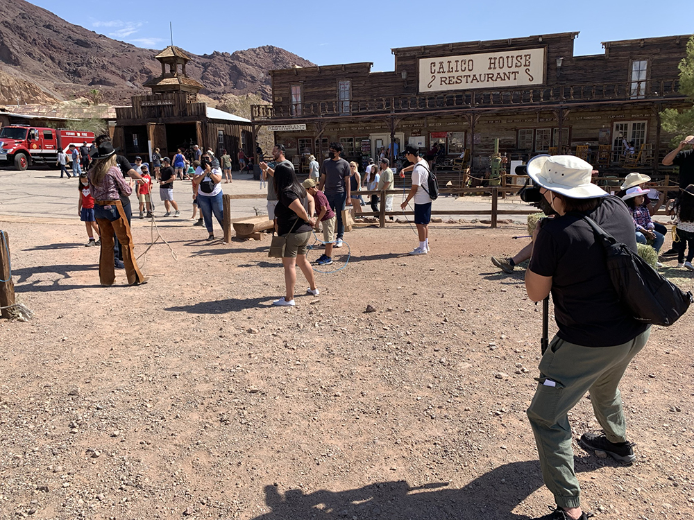 Cowgirl Christy Trick roping at Calico